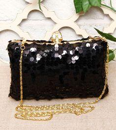 Black Sequined Clutch