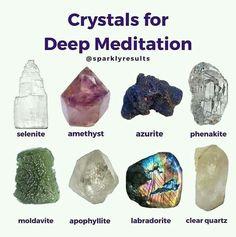 Crystals for Meditation Crystals Minerals, Rocks And Minerals, Crystals And Gemstones, Stones And Crystals, Natural Crystals, Crystal Guide, Crystal Magic, Crystal Healing Stones, Healing Rocks