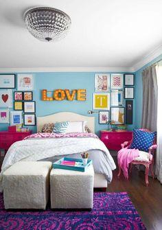 peinture chambre enfant ado-fille-bleu-rose-violet