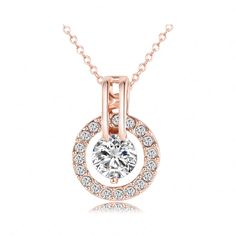 Rose Gold Plated Genuine Austrian Crystal Round Pendant Necklace
