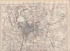 1895 Historische Landkarte / Antique Map ROM und UMGEBUNG * Monte Mario Barioli
