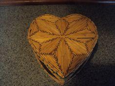 Matches+Art+Hearts | Prison art hand made from match sticks heart shaped trinket box