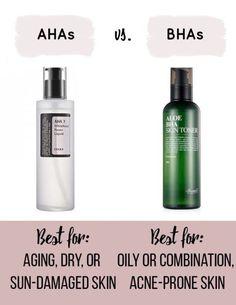 Korean Skincare Routine AHAs vs BHAs #skincaretips