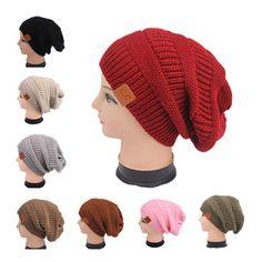 Fashion Women Warm Winter Beret Braided Ski Cap Baggy Knit Crochet Beanie Hat