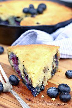 Blueberry Cornbread Recipe | This moist cornbread is wonderful for snacking or breakfast!