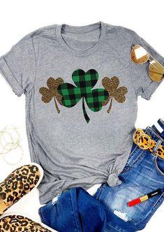 Plaid Leopard Printed Clover T-Shirt Tee - GrayYou can find T shirt designs and more on our website.Plaid Leopard Printed Clover T-Shirt Tee - Gray Home T Shirts, Vinyl Shirts, St Patrick's Day Outfit, Outfit Of The Day, St Pattys Day Outfit, St. Patricks Day, Diy St Patricks Day Shirt, Plaid And Leopard, St Patrick Day Shirts