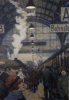 soircharmant: Hans Baluschek (Wrocław 1870 - Berlin 1935) -Bahnhofshalle (Lehrter Bahnhof), 1929.Pastel.