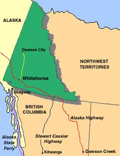 Map showing Dawson CIty and Whitehorse in the Yukon Territory North To Alaska, Canada North, Parks Canada, Western Canada, Alaska Trip, Alaska Cruise, Yukon Territory, Northwest Territories, Historical Sites