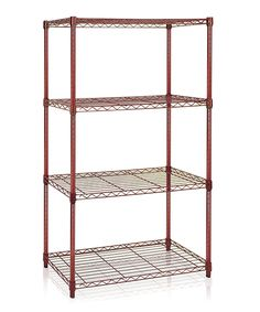 Take a look at this Burgundy Four-Tier Wire Shelving Unit today!