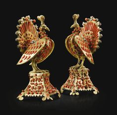 Coppia di Pavoni, South Italy, Trapani, mid-17 Century. A pair of peacocks, gilt bronze, gilt copper and enamel   sotheby's