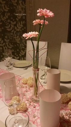 rosa Gerbera, Hochzeitsdeko, Tischdeko