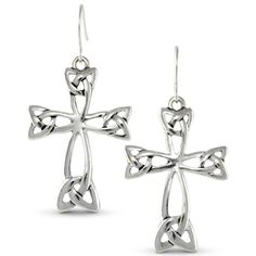 Celtic Trinity Knot Religious Cross Polished Silver Tone Triquetra Earrings -- Want to know more, click on the image.