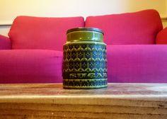 Vintage Retro 1970's HORNSEA Pottery Green Black HEIRLOOM Design Pattern Large SUGAR Storage Jar Canister Container Barrel Wooden Teak  Lid by MrMoCurios on Etsy