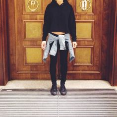 My style: Wilfred Free cropped sweatshirt and denim jacket from Aritzia, Rag and Bone jeans, leather high top Converse sneakers