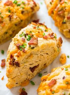 Try these Bacon Cheddar Chive Savory Scones for your next brunch! Soft, tender and LOADED with crispy bacon and melty cheese. Recipe at wellplated.com | @wellplated
