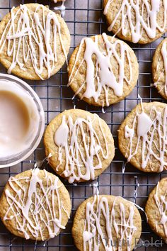 Maple Brown Butter Sugar Cookies drizzled with maple glaze!