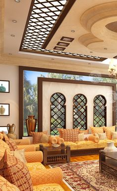 Home Interior: Luxury Arabic Majlis Interior Design In Dubai And Interior Design Dubai, Interior Design Companies, Luxury Homes Interior, Interior Exterior, Modern Interior Design, Bohemian Interior, Moroccan Home Decor, Moroccan Interiors, Moroccan Design