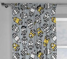 NEW DESPICABLE ME 3 MINIONS MOVIE JAILBIRD CHILDRENS PAIR OF CURTAINS 66 x 54