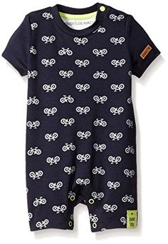 All over printed front short sleeve romper, with two snaps at neck opening for easy on and off, snaps at leg opening