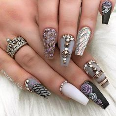 Ballerina Nails Ideas That Speak For Themselves ★ Sparkling Ballerina Nail Designs with Stones Picture 4 ★ Long Nail Designs, Beautiful Nail Designs, Acrylic Nail Designs, Nail Art Designs, Bling Nails, Diy Nails, Gems On Nails, Gorgeous Nails, Love Nails