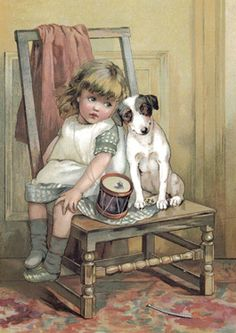 Children (Vintage Art) Prints, Prints, Paintings & Wall Art for Sale Images Vintage, Vintage Pictures, Vintage Cards, Vintage Postcards, Cute Pictures, Vintage Signs, Beautiful Pictures, Motifs Animal, Children's Book Illustration