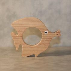 """Rond de serviette """" poisson """" chantourné en bois"""