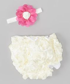 Loving this White Ruffle Petals Diaper Cover & Pink Headband - Infant on #zulily! #zulilyfinds