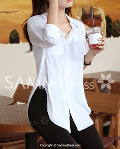 Loose Long Sleeeve Turn Down Collar Solid Color Women's Blouse Look Fashion, Asian Fashion, Fashion Outfits, Womens Fashion, Cute Blouses For Work, Blouses For Women, Outfit Combinations, Sammy Dress, Affordable Clothes