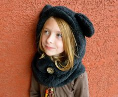 Fleece Hat Sewing Pattern - Hoodie Cowl Winter Hat The pattern for the hood I'm making for Lucy's spider Halloween costume. Fleece Hat Pattern, Hat Patterns To Sew, Dress Patterns, Stitch Patterns, Childrens Sewing Patterns, Sewing For Kids, Baby Sewing, Fleece Projects, Sewing Projects