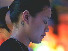 small zodiac Leo sign tattoo behind the ear #ink #girly #horoscope