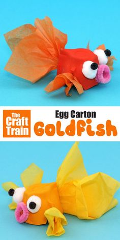 Bastelidee für Kinder: Upcycling Goldfisch aus Eierkarton basteln Cute and easy goldfish craft idea for kids. Make an egg carton goldfish! This is a great way to upcycle egg cartons and perfect for kids of all ages. Animal Crafts For Kids, Toddler Crafts, Art For Kids, Craft Kids, Sea Animal Crafts, Crafts For Children, Fish Crafts Kids, Paper Crafts For Kids, Camping Ideas