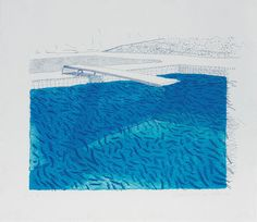 primary-yellow:  DAVID HOCKNEY LITHOGRAPH OF WATER MADE OF LINES, CRAYON AND TWO BLUE WASHE, 1978