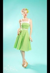 Netti Dress in Lime Green Polka Dot with White Trim from Pin Up Couture