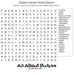 Famous People Word Search Games: Disney Heroes Word Search