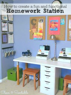 Create a kids homework station to help keep your children focused and organized when they are doing their studying. Lots of great ideas to get you started!