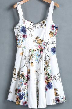 White Spaghetti Strap Floral Slim Pleated Dress