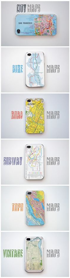 DIY Map iPhone Covers - Could be done with any phone cover I suppose. No more expensive designer covers, make everyone jealous with these!