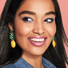 Summer time is here! Time for that glow, tropical and bright Avon and Mark. By Avon have you covered! Aren't the earrings too cute? Summer Makeup Looks, Summer Looks, Mark Makeup, Pineapple Earrings, Avon Mark, Avon Fashion, Avon Brochure, Lipstick Colors, Makeup Lipstick