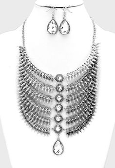 6-LAYERS CRYSTAL ACCENTED METAL BIB NECKLACE