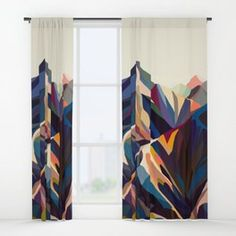 Mountains original Blackout Curtain by margoku Blackout Windows, Blackout Curtains, Window Curtains, Canvas Art Prints, Framed Prints, 70s Decor, Paint Colors For Home, House Painting, Home Decor Inspiration