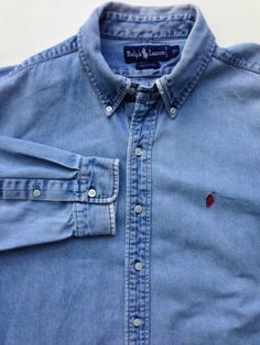 Men's Ralph Lauren Denim Oxford Shirt size XL Blue Jean polo