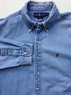 Men's Ralph Lauren Denim Oxford Shirt size XL Blue Jean polo