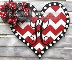 Wood Heart Door Hanger; Valentine Gift; Monogram Valentine Decoration; February Door Hanger; Valentine Decor; Painted Heart, Chevron Heart