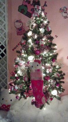 the stocking she had for christmas Hello Kitty Christmas Tree, Cute Christmas Tree, Christmas Tree Design, Purple Christmas, Christmas Makes, Beautiful Christmas, Christmas Time, Christmas Decorations, Christmas Displays
