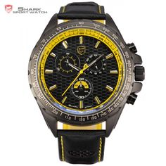 Frilled SHARK Sport Watch Racing Series Model SH195 Mens Quartz Watches //Price: $55.98 & FREE Shipping //         #SharkSportWatch Mens Sport Watches, Watches For Men, Frilled Shark, Leather Men, Black Leather, Shark Watches, Black N Yellow, Yellow Style, D 20