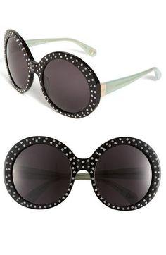 001e3815b05 Diane von Furstenberg  Gloria - Oversized  Round Sunglasses Black With  Stones One Size