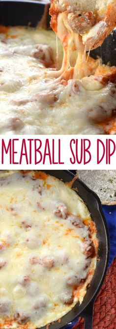 This Meatball Sub Dip is jam packed with flavor and cheesy goodness! Served hot with bread, it's the perfect appetizer! This Meatball Sub Dip is jam packed with flavor and cheesy goodness! Served hot with bread, it's the perfect appetizer! Finger Food Appetizers, Appetizer Dips, Yummy Appetizers, Appetizer Recipes, Lunch Snacks, Guacamole, Dip Recipes, Cooking Recipes, Cooking Time