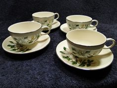 Homer Laughlin Rhythm White Magnolia Coffee Tea Cup Saucer FOUR in Pottery & Glass, Pottery & China, China & Dinnerware | eBay