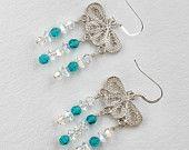 Sterling Silver Butterfly Chandelier Earrrings
