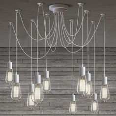10 Light Cable Chandelier in white like the white